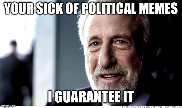 I Guarantee It | YOUR SICK OF POLITICAL MEMES I GUARANTEE IT | image tagged in memes,i guarantee it | made w/ Imgflip meme maker