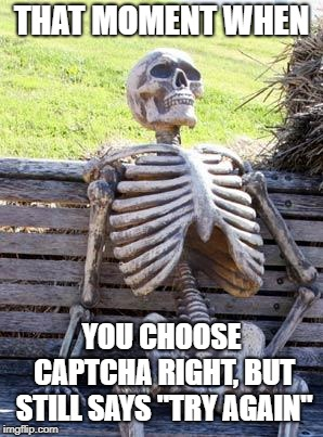 "Waiting Skeleton Meme | THAT MOMENT WHEN YOU CHOOSE CAPTCHA RIGHT, BUT STILL SAYS ""TRY AGAIN"" 