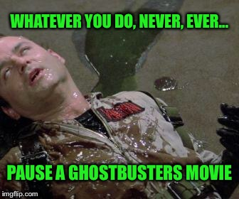He slimed me... | WHATEVER YOU DO, NEVER, EVER... PAUSE A GHOSTBUSTERS MOVIE | image tagged in ghostbusters slimed,crazy eyes,never again,ghostbusters,movies | made w/ Imgflip meme maker