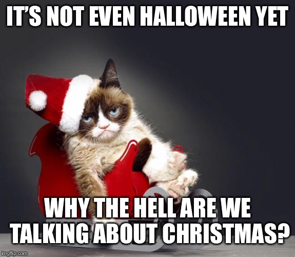 Grumpy Cat weekend! | IT'S NOT EVEN HALLOWEEN YET WHY THE HELL ARE WE TALKING ABOUT CHRISTMAS? | image tagged in grumpy cat christmas hd,relatable,funny,memes,just wait,grumpy cat weekend | made w/ Imgflip meme maker