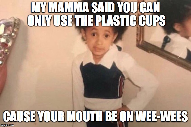 Young Cardi B Meme | MY MAMMA SAID YOU CAN ONLY USE THE PLASTIC CUPS CAUSE YOUR MOUTH BE ON WEE-WEES | image tagged in memes,young cardi b | made w/ Imgflip meme maker