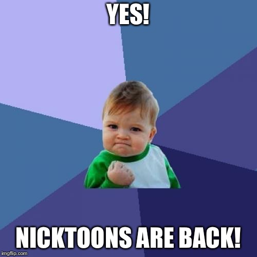 Success Kid Meme | YES! NICKTOONS ARE BACK! | image tagged in memes,success kid | made w/ Imgflip meme maker