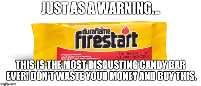 I think you should just burn it and not eat it! | JUST AS A WARNING... THIS IS THE MOST DISGUSTING CANDY BAR EVER! DON'T WASTE YOUR MONEY AND BUY THIS. | image tagged in firestart | made w/ Imgflip meme maker