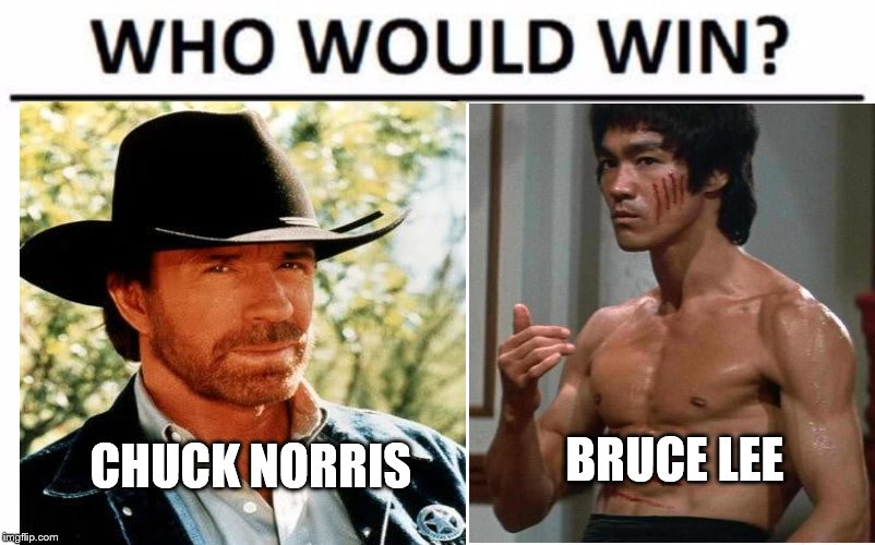 the fight of the century | CHUCK NORRIS BRUCE LEE | image tagged in who would win,chuck norris,bruce lee | made w/ Imgflip meme maker