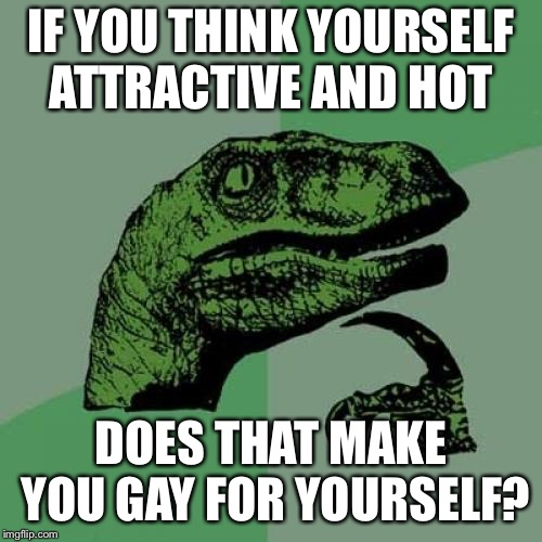Self centered or Self gay? (P.s. This is rhetorical. Just looking for banter...or even candor, if this applies to you.) | IF YOU THINK YOURSELF ATTRACTIVE AND HOT DOES THAT MAKE YOU GAY FOR YOURSELF? | image tagged in memes,philosoraptor | made w/ Imgflip meme maker