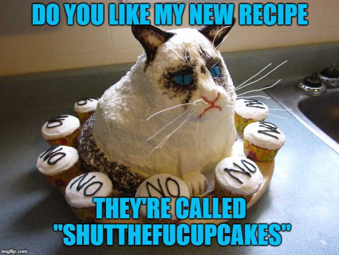 "Time for Dessert!!! Grumpy Cat Weekend Oct 5-8 |  DO YOU LIKE MY NEW RECIPE; THEY'RE CALLED ""SHUTTHEFUCUPCAKES"" 