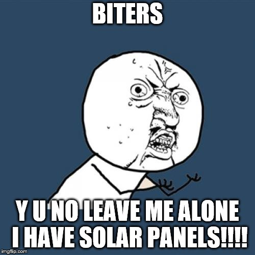 Y U No Meme | BITERS Y U NO LEAVE ME ALONE I HAVE SOLAR PANELS!!!! | image tagged in memes,y u no | made w/ Imgflip meme maker