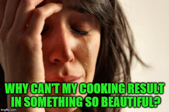 First World Problems Meme | WHY CAN'T MY COOKING RESULT IN SOMETHING SO BEAUTIFUL? | image tagged in memes,first world problems | made w/ Imgflip meme maker