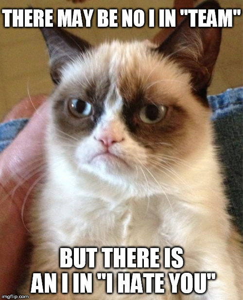 "Grumpy cat event! | THERE MAY BE NO I IN ""TEAM"" BUT THERE IS AN I IN ""I HATE YOU"" 