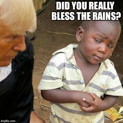Third World Skeptical Kid w/ The Donald® | DID YOU REALLY BLESS THE RAINS? | image tagged in third world skeptical kid w/ the donald | made w/ Imgflip meme maker