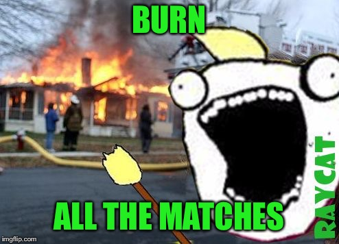 Disaster All The Y | BURN ALL THE MATCHES | image tagged in disaster all the y | made w/ Imgflip meme maker