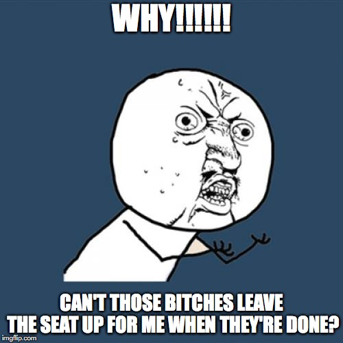 Y U No Meme | WHY!!!!!! CAN'T THOSE B**CHES LEAVE THE SEAT UP FOR ME WHEN THEY'RE DONE? | image tagged in memes,y u no | made w/ Imgflip meme maker