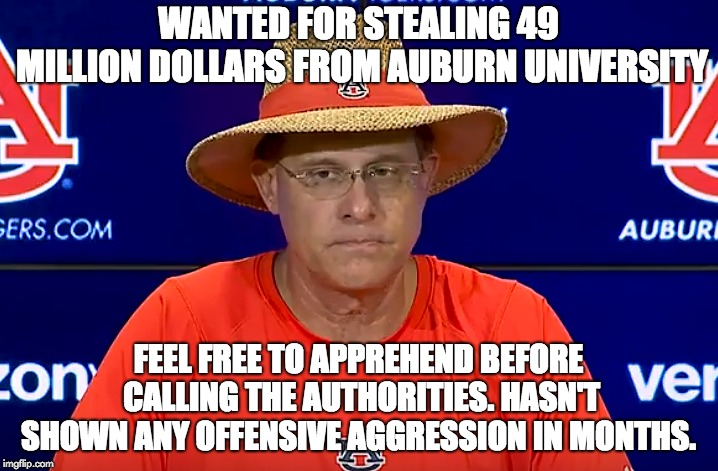 WANTED FOR STEALING 49 MILLION DOLLARS FROM AUBURN UNIVERSITY FEEL FREE TO APPREHEND BEFORE CALLING THE AUTHORITIES. HASN'T SHOWN ANY OFFENS | image tagged in auburn,tigers | made w/ Imgflip meme maker