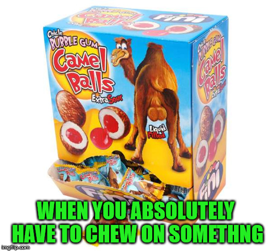 Camel Balls Chewing Gum |  WHEN YOU ABSOLUTELY HAVE TO CHEW ON SOMETHNG | image tagged in camel balls chewing gum,memes,one does not simply,what if i told you | made w/ Imgflip meme maker