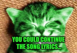happy RayCat | YOU COULD CONTINUE THE SONG LYRICS... | image tagged in happy raycat | made w/ Imgflip meme maker