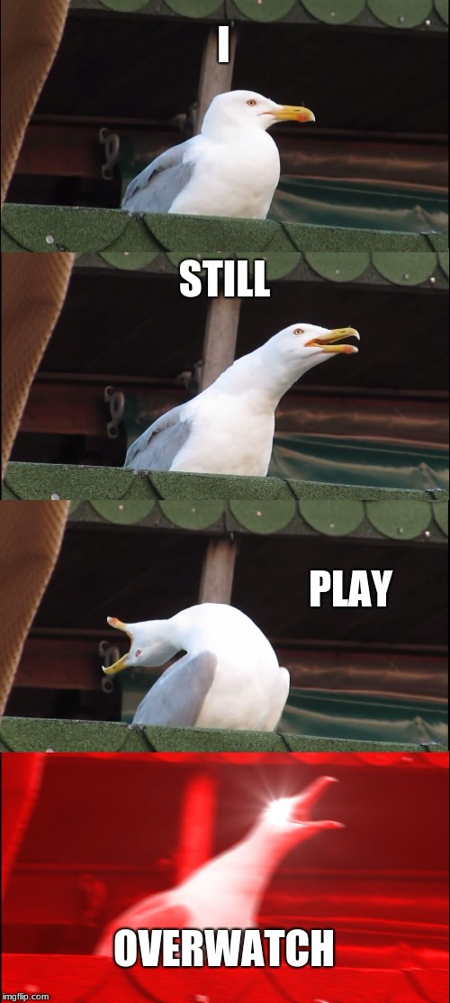 Inhaling Seagull Meme | I STILL PLAY OVERWATCH | image tagged in memes,inhaling seagull | made w/ Imgflip meme maker