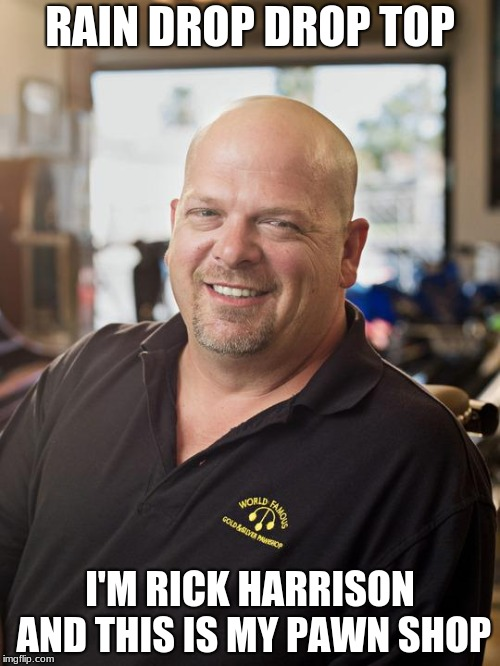 Rick Harrison | RAIN DROP DROP TOP I'M RICK HARRISON AND THIS IS MY PAWN SHOP | image tagged in rick harrison | made w/ Imgflip meme maker