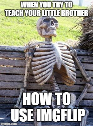 Waiting Skeleton Meme | WHEN YOU TRY TO TEACH YOUR LITTLE BROTHER HOW TO USE IMGFLIP | image tagged in memes,waiting skeleton | made w/ Imgflip meme maker