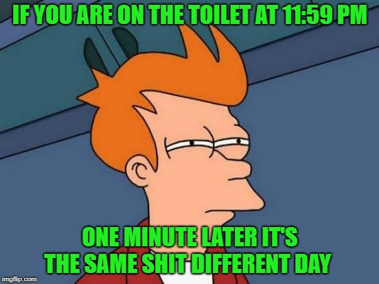 on the potty | IF YOU ARE ON THE TOILET AT 11:59 PM ONE MINUTE LATER IT'S THE SAME SHIT DIFFERENT DAY | image tagged in memes,futurama fry | made w/ Imgflip meme maker