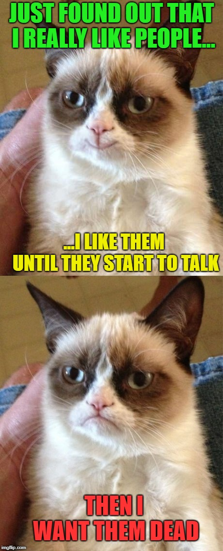 I also like to smahs them repeadetly with a golf club.. | JUST FOUND OUT THAT I REALLY LIKE PEOPLE... ...I LIKE THEM UNTIL THEY START TO TALK THEN I WANT THEM DEAD | image tagged in funny,grumpy cat,smiling grumpy cat,relatable,imgflip | made w/ Imgflip meme maker