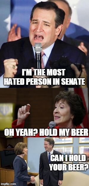 I'M THE MOST HATED PERSON IN SENATE OH YEAH? HOLD MY BEER CAN I HOLD YOUR BEER? | image tagged in brett kavanaugh,ted cruz,susan collins | made w/ Imgflip meme maker