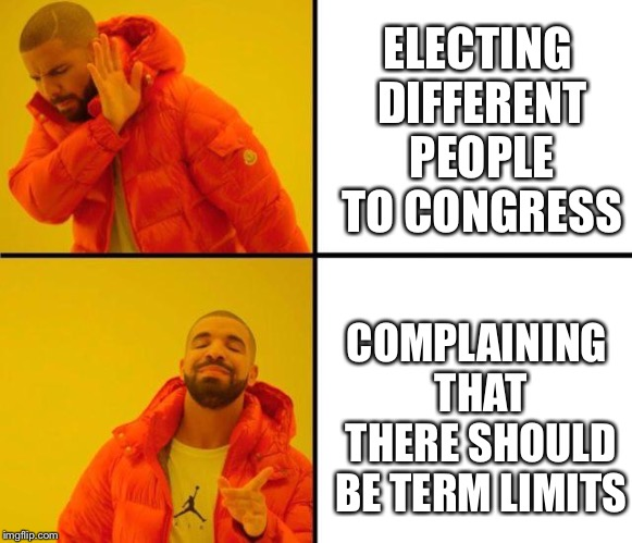 Somehow they keep getting re-elected | ELECTING DIFFERENT PEOPLE TO CONGRESS COMPLAINING THAT THERE SHOULD BE TERM LIMITS | image tagged in drake meme,congress,voting | made w/ Imgflip meme maker