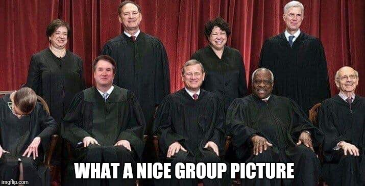Our Supreme Court Justices | WHAT A NICE GROUP PICTURE | image tagged in supreme court | made w/ Imgflip meme maker