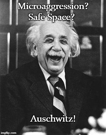 Laughable |  Microaggression? Safe Space? Auschwitz! | image tagged in einstein laugh,microaggression,safe space,auschwitz | made w/ Imgflip meme maker