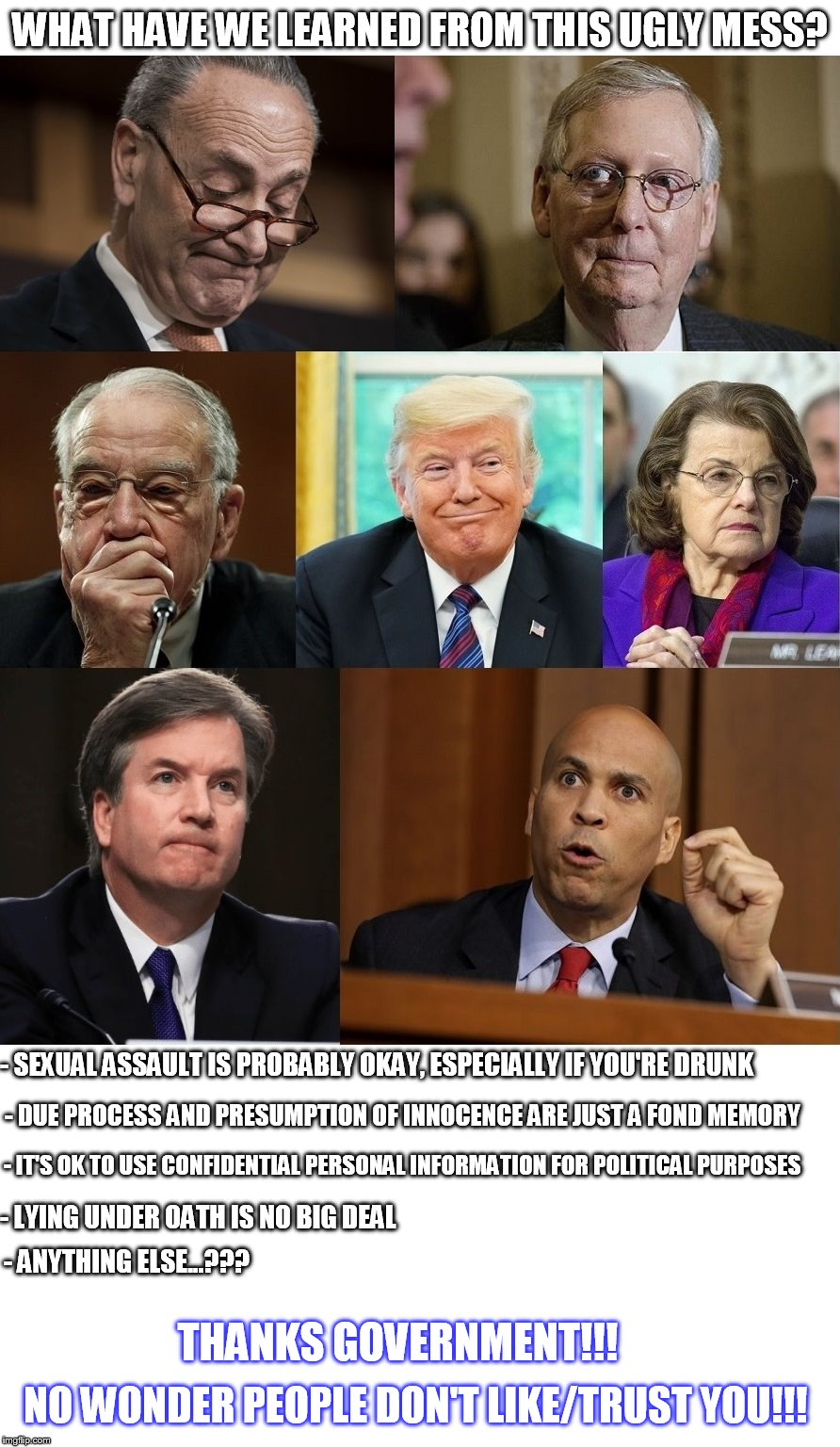 WHAT HAVE WE LEARNED FROM THIS UGLY MESS? - LYING UNDER OATH IS NO BIG DEAL - IT'S OK TO USE CONFIDENTIAL PERSONAL INFORMATION FOR POLITICAL | image tagged in kavanaugh,government,chuck schumer,dianne feinstein,cory booker,mitch mcconnell | made w/ Imgflip meme maker