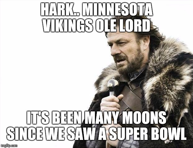 Brace Yourselves X is Coming | HARK.. MINNESOTA VIKINGS OLE LORD IT'S BEEN MANY MOONS SINCE WE SAW A SUPER BOWL | image tagged in memes,brace yourselves x is coming | made w/ Imgflip meme maker