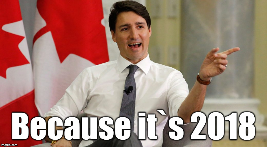 Smug Trudeau 2018 | Because it`s 2018 | image tagged in trudeau smug,justin trudeau,smug,2018 | made w/ Imgflip meme maker