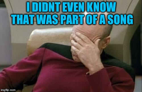 Captain Picard Facepalm Meme | I DIDNT EVEN KNOW THAT WAS PART OF A SONG | image tagged in memes,captain picard facepalm | made w/ Imgflip meme maker