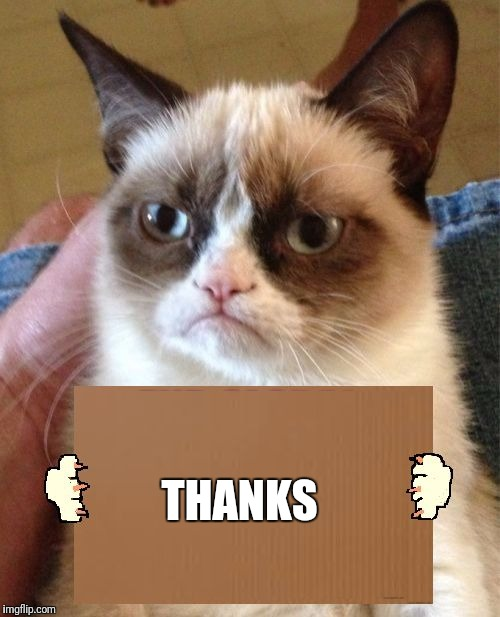 Grumpy Cat Cardboard Sign | THANKS | image tagged in grumpy cat cardboard sign | made w/ Imgflip meme maker