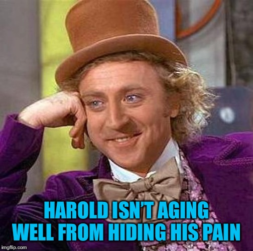 Creepy Condescending Wonka Meme | HAROLD ISN'T AGING WELL FROM HIDING HIS PAIN | image tagged in memes,creepy condescending wonka | made w/ Imgflip meme maker