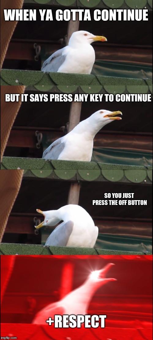 Inhaling Seagull Meme | WHEN YA GOTTA CONTINUE BUT IT SAYS PRESS ANY KEY TO CONTINUE SO YOU JUST PRESS THE OFF BUTTON +RESPECT | image tagged in memes,inhaling seagull | made w/ Imgflip meme maker