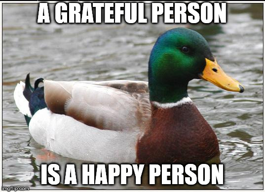 Actual Advice Mallard Meme | A GRATEFUL PERSON IS A HAPPY PERSON | image tagged in memes,actual advice mallard,AdviceAnimals | made w/ Imgflip meme maker