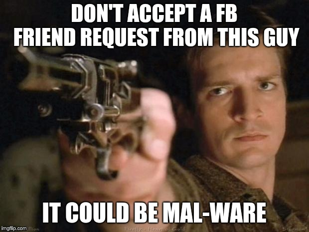 Firefly | DON'T ACCEPT A FB FRIEND REQUEST FROM THIS GUY IT COULD BE MAL-WARE | image tagged in firefly | made w/ Imgflip meme maker