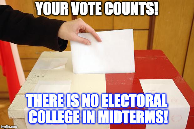 Vote | YOUR VOTE COUNTS! THERE IS NO ELECTORAL COLLEGE IN MIDTERMS! | image tagged in vote | made w/ Imgflip meme maker