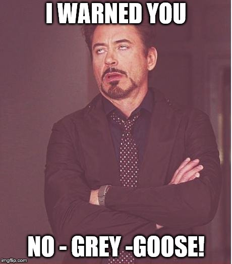 Face You Make Robert Downey Jr Meme | I WARNED YOU NO - GREY -GOOSE! | image tagged in memes,face you make robert downey jr | made w/ Imgflip meme maker