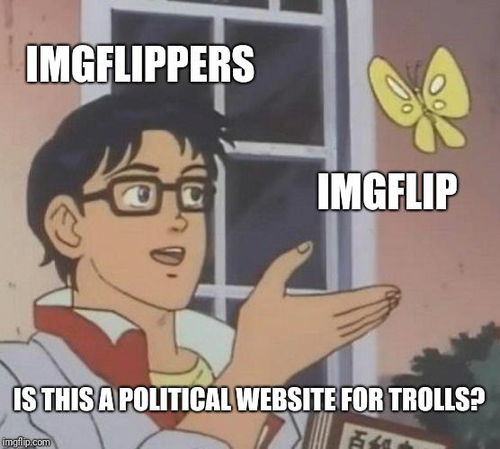 I have done it in the past too, just an observation that it is really hyperpolitical lately. | IMGFLIPPERS IMGFLIP IS THIS A POLITICAL WEBSITE FOR TROLLS? | image tagged in memes,is this a pigeon | made w/ Imgflip meme maker