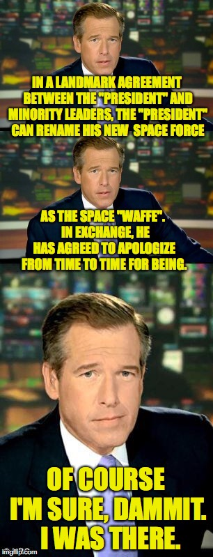"Behind closed doors. | IN A LANDMARK AGREEMENT BETWEEN THE ""PRESIDENT"" AND MINORITY LEADERS, THE ""PRESIDENT"" CAN RENAME HIS NEW  SPACE FORCE AS THE SPACE ""WAFFE"".  