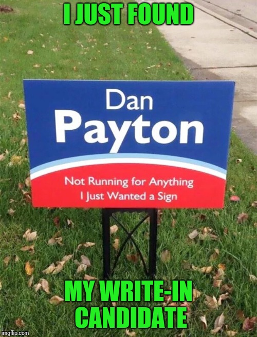 Anyone is better than the clowns we have now | I JUST FOUND MY WRITE-IN CANDIDATE | image tagged in sign,political,pipe_picasso,candidate | made w/ Imgflip meme maker