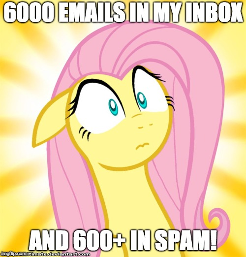 Shocked Fluttershy | 6000 EMAILS IN MY INBOX AND 600+ IN SPAM! | image tagged in shocked fluttershy | made w/ Imgflip meme maker