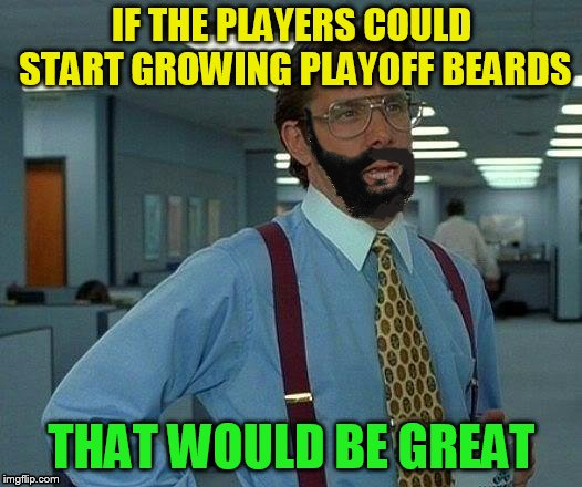 IF THE PLAYERS COULD START GROWING PLAYOFF BEARDS THAT WOULD BE GREAT | made w/ Imgflip meme maker