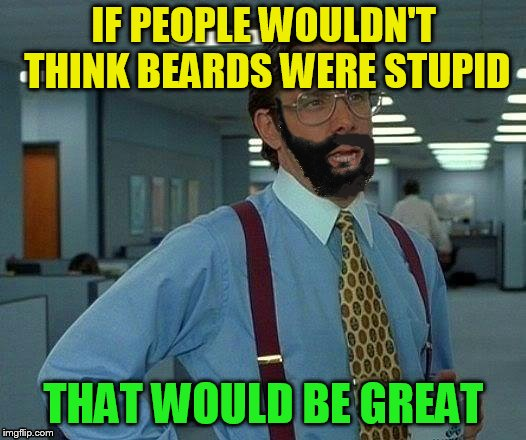 IF PEOPLE WOULDN'T THINK BEARDS WERE STUPID THAT WOULD BE GREAT | made w/ Imgflip meme maker