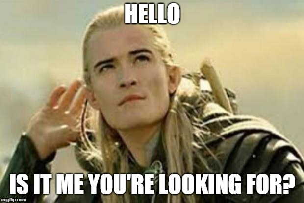 legolas | HELLO IS IT ME YOU'RE LOOKING FOR? | image tagged in legolas | made w/ Imgflip meme maker