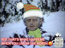 Its getting cold outside | YEP, THAT'S WHAT HAPPENS WHEN YOU LIVE IN THE NORTH  | image tagged in cold weather,north,fall,winter is coming,winter | made w/ Imgflip meme maker