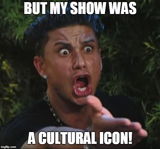 DJ Pauly D Meme | BUT MY SHOW WAS A CULTURAL ICON! | image tagged in memes,dj pauly d | made w/ Imgflip meme maker