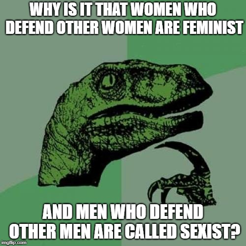 Ugh...feminists these days | WHY IS IT THAT WOMEN WHO DEFEND OTHER WOMEN ARE FEMINIST AND MEN WHO DEFEND OTHER MEN ARE CALLED SEXIST? | image tagged in memes,philosoraptor,politics,political,sexism,rape | made w/ Imgflip meme maker