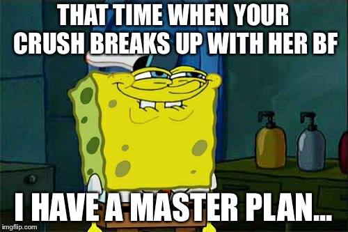 Dont You Squidward Meme | THAT TIME WHEN YOUR CRUSH BREAKS UP WITH HER BF I HAVE A MASTER PLAN... | image tagged in memes,dont you squidward | made w/ Imgflip meme maker